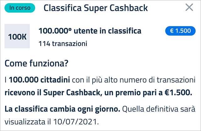 Super Cashback: la classifica aggiornata a martedì 2 marzo 2021 con il numero minimo di transazioni necessario per accedere al bonus
