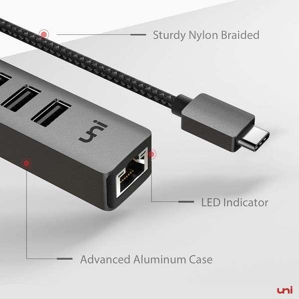 HUB Uni USB Type-C 3.0 RJ45 - 1