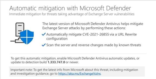 Defender Antivirus - Exchange Server