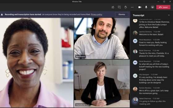 Microsoft Teams, trascrizioni in tempo reale