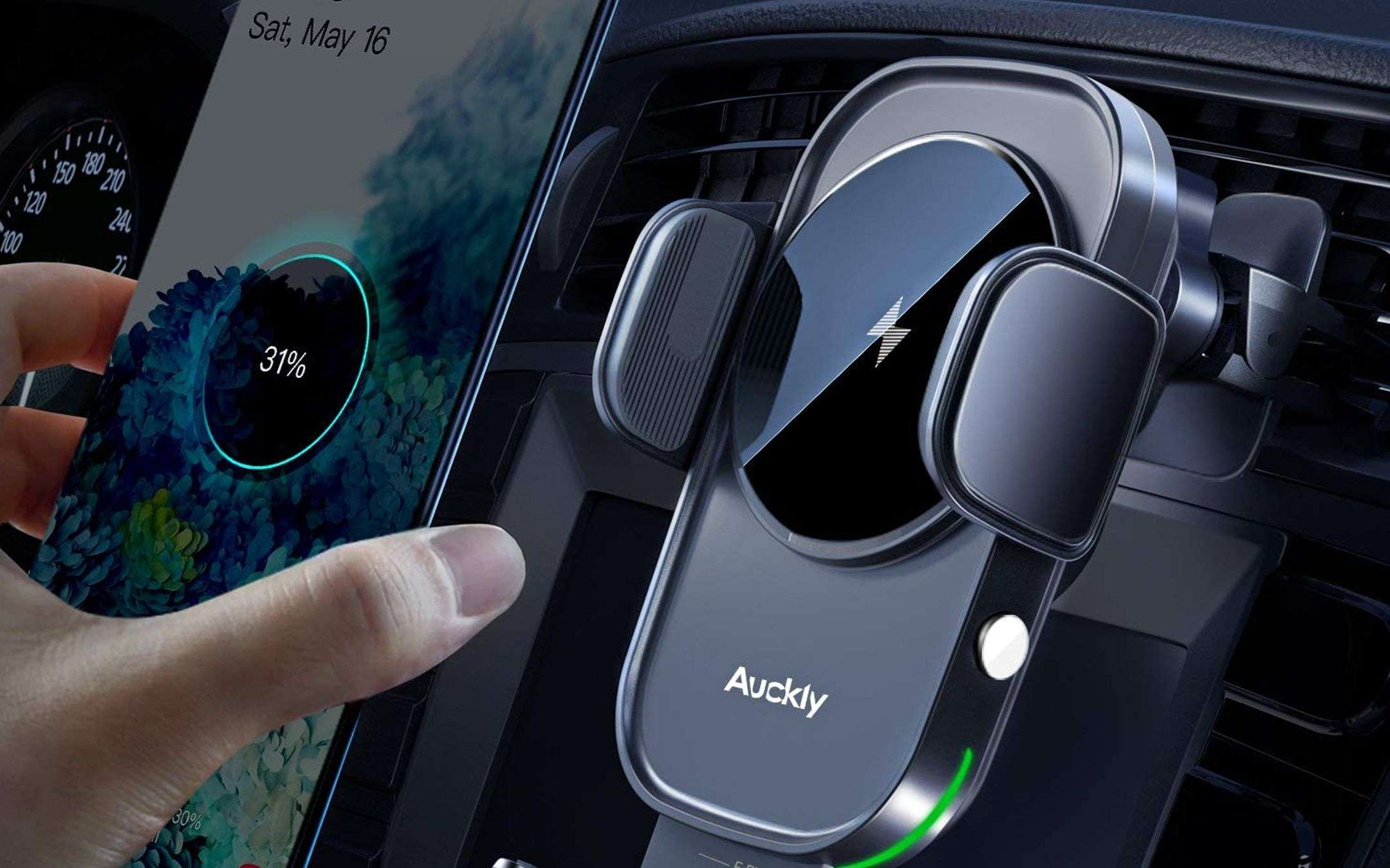 Auckly, the car holder with wireless charging