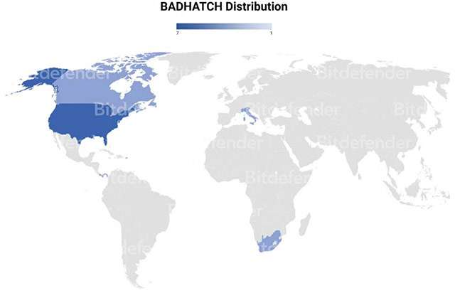 La distribuzione di Badhatch a livello geografico: interessata anche l'Italia