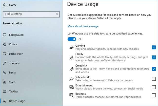 La funzionalità Device Usage nella build d'anteprima di Windows 10