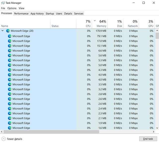 Microsoft Edge: il browser non si chiude, molte istanze attive nel task manager