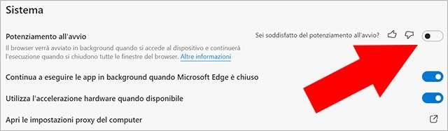 La funzionalità Potenziamento all'Avvio di Microsoft Edge