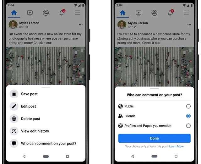 Il nuovo tool di Facebook per controllare i commenti ai post condivisi nella sezione Notizie