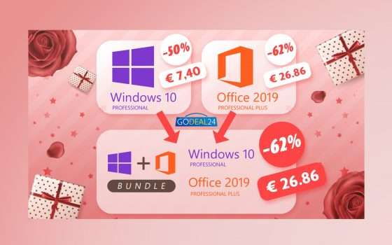 Festa della donna: 26€ per Windows 10 Pro + Office 2019 Pro