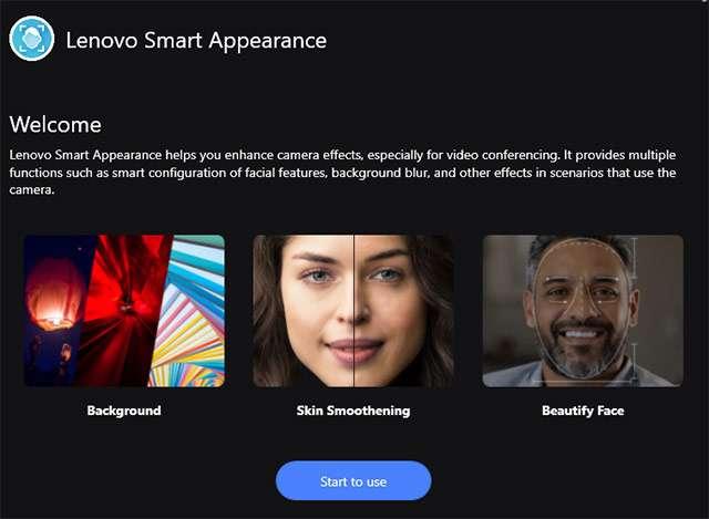 La schermata di benvenuto di Lenovo Smart Appearance
