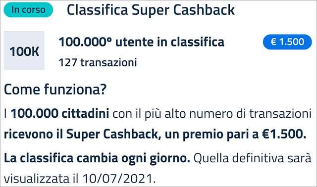 Super Cashback: la classifica aggiornata a venerdì 5 marzo 2021 con il numero minimo di transazioni necessario per accedere al bonus