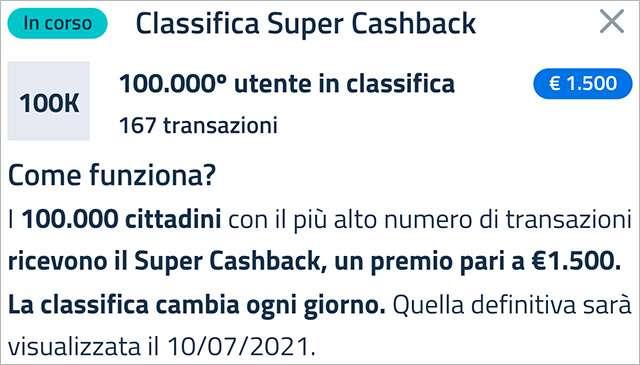 Super Cashback: la classifica aggiornata a venerdì 19 marzo 2021 con il numero minimo di transazioni necessario per accedere al bonus