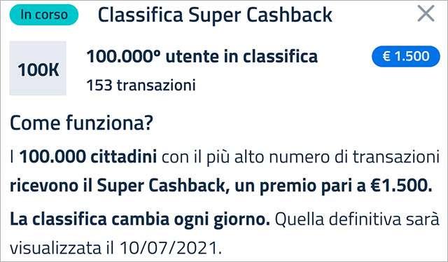 Super Cashback: la classifica aggiornata a martedì 16 marzo 2021 con il numero minimo di transazioni necessario per accedere al bonus