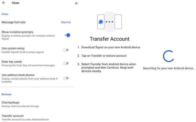 La funzionalità di Signal per trasferire l'account a un nuovo dispositivo Android
