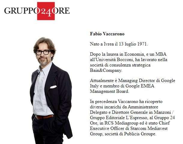 Fabio Vaccarono, Amministratore non esecutivo Gruppo 24 Ore