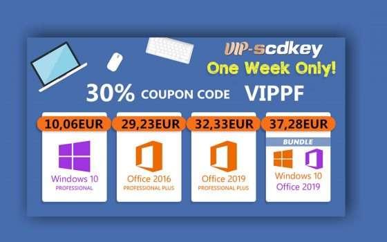 VIP-SCDKey, marzo di sconti: Windows 10 PRO OEM a soli 10€