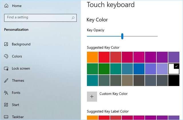Le personalizzazioni per la tastiera touch di Windows 10