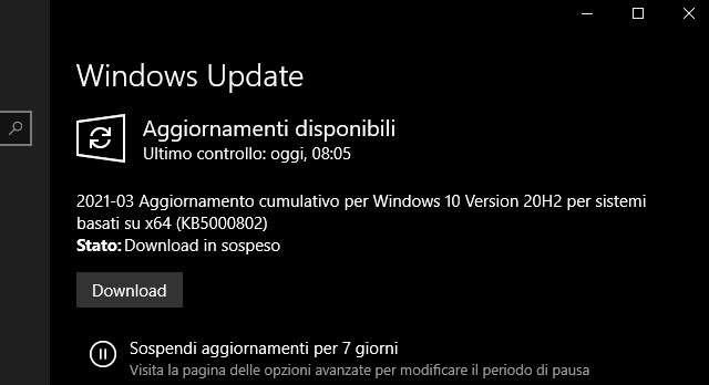 Windows 10 KB5000802, il Patch Tuesday di marzo