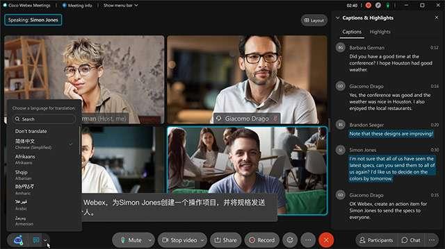 La trascrizione automatica delle conversazioni in Cisco Webex