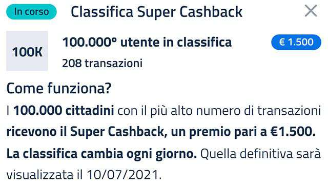 Super Cashback: la classifica aggiornata a venerdì 2 aprile con il numero minimo di transazioni necessario per accedere al bonus