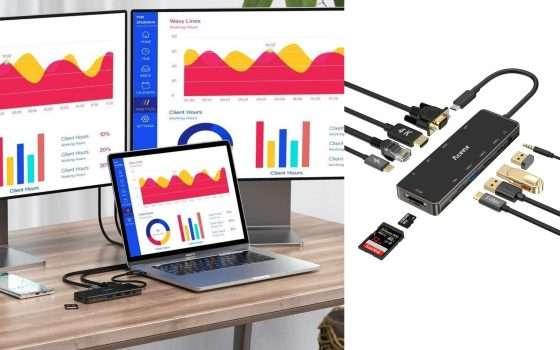 HUB USB-C 11 in 1 PD HDMI 4K RJ45 scontato del 40%