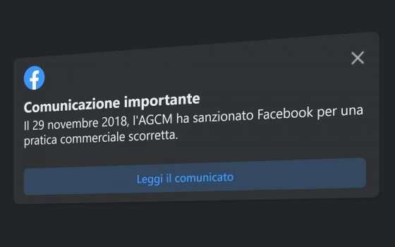 Cosa significa il messaggio di Facebook sull'AGCM?