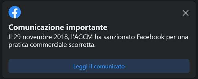 Il messaggio di Facebook in merito alla richiesta di AGCM