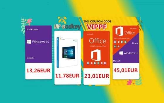 VIP-SCDkey sconti d'Aprile: Windows 10 PRO 13€, Office 2016 23€
