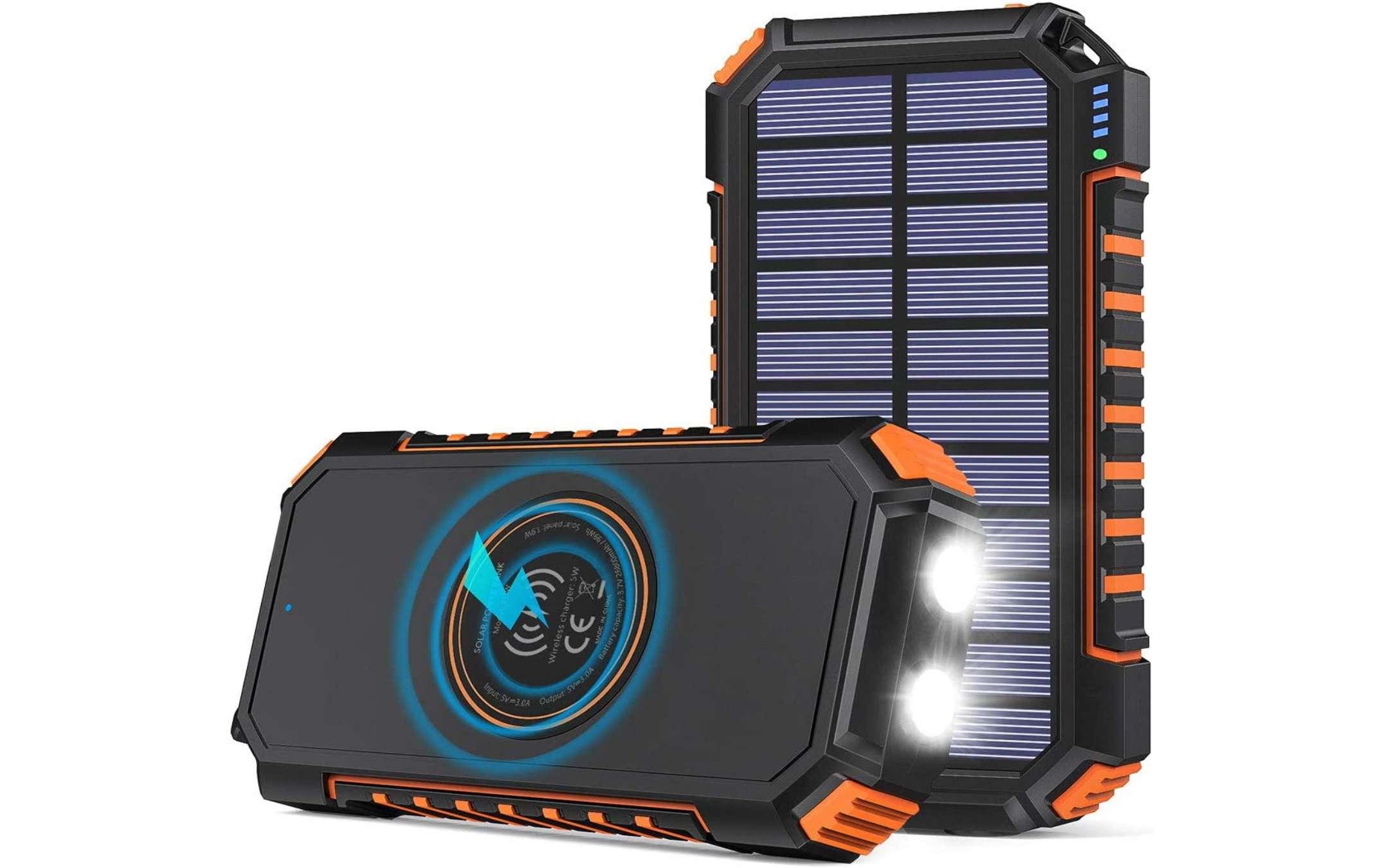 Caricabatteria Portatile Hiluckey con Pannello Solare e Ricarica Qi - 2
