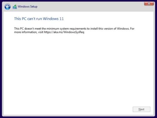 Los requisitos de pago de Windows 11 fallaron