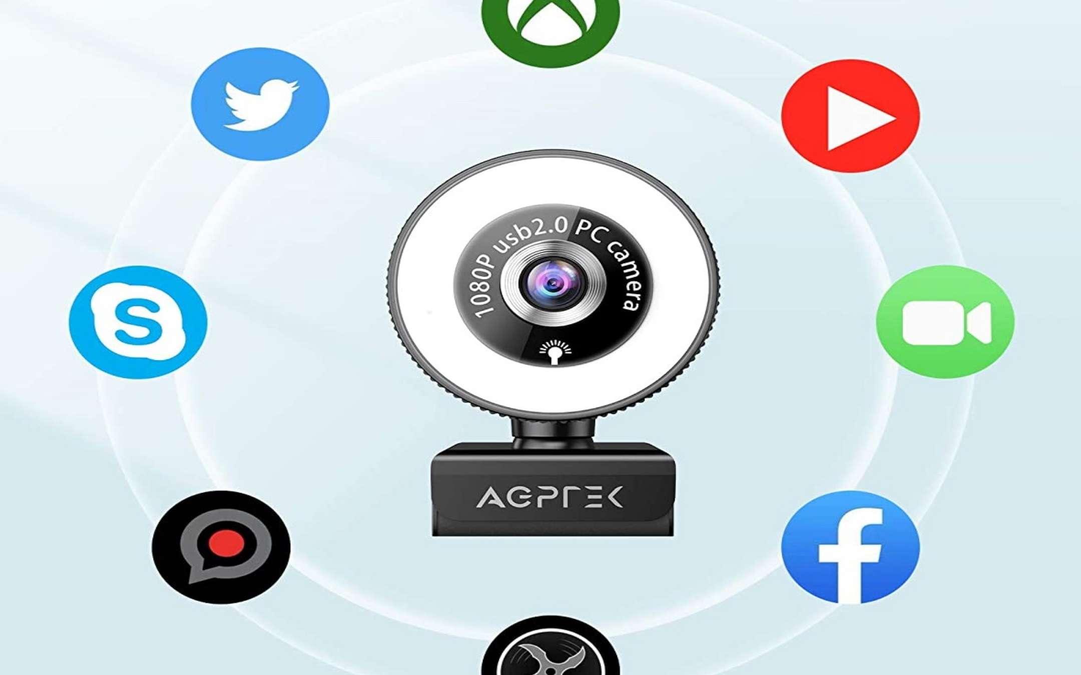 Webcam Full HD Agptek con Anello LED - 2
