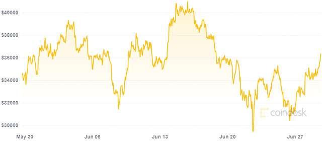El valor de Bitcoin y su diversidad durante el último mes (29/06/2021)