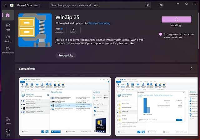 WinZip 25 está disponible en la nueva Microsoft Store de Windows 11