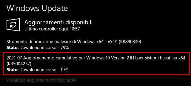 Il Patch Tuesday d luglio 2021 (KB5004237) per Windows 10
