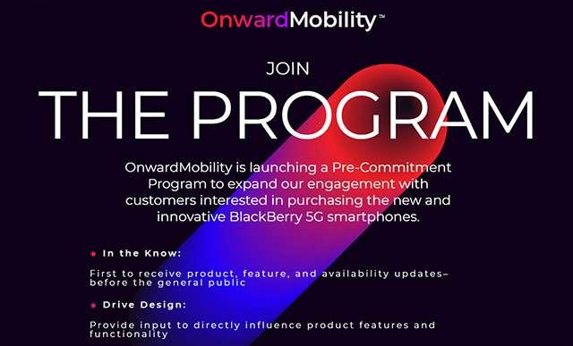 OnwardMobility: el programa de compromiso previo para un teléfono inteligente BlackBerry 5G