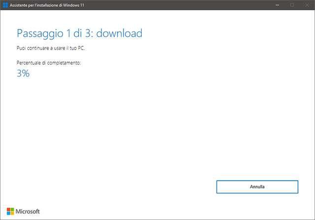L'assistente per l'installazione di Windows 11