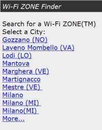 Una pagina del servizio Wi-Fi ZONE Finder
