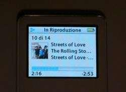 iPod nano in riproduzione