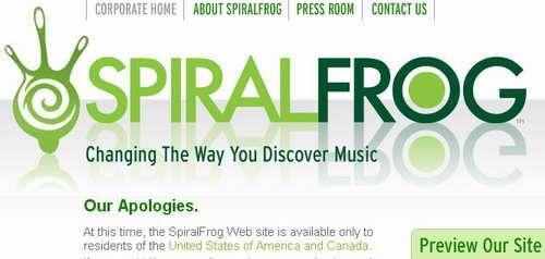 l'avviso sulla home del nuovo SpiralFrog