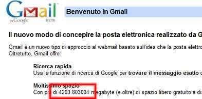 Gmail sempre più capiente