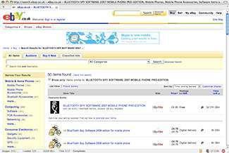 Una ricerca di spy software su eBay