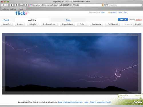 La web app di Picnik al lavoro dentro Flickr