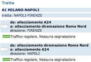 La situazione sulla diramazione Roma Nord secondo il sito di Autostrade SPA