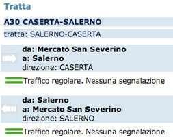 La situazione al casello di Salerno della A30 secondo il sito di Autostrade SPA
