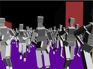 Modello tridimensionale di una folla in fuga