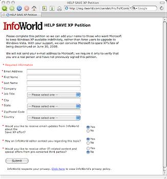 La petizione di InfoWorld