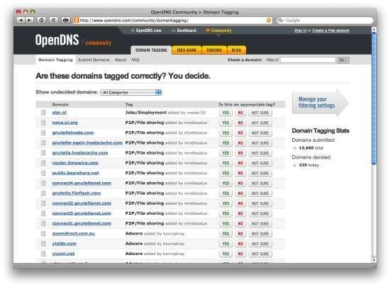 Il database di filtraggio OpenDNS