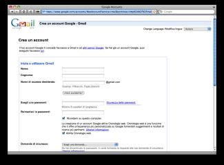 La pagina di iscrizione su Gmail