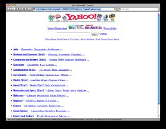 Il potere di Internet - il sito di Yahoo nel 1996