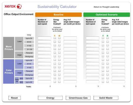 Xerox e ambiente, sustainability calculator