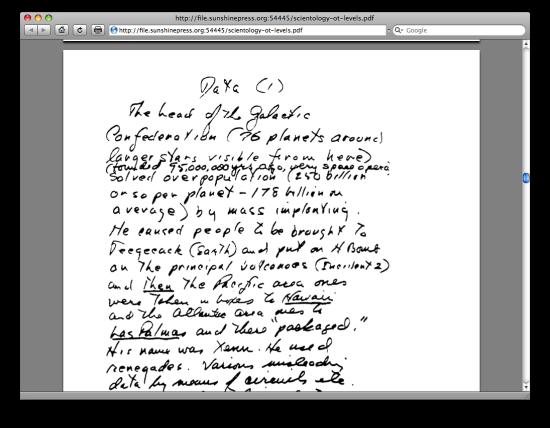 Uno dei manoscritti di Ron Hubbard