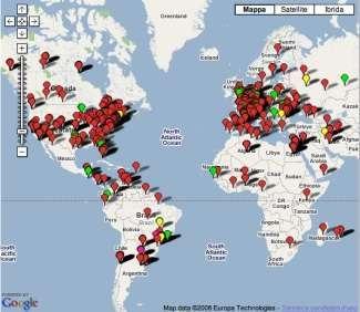 La mappa mondiale con gli attuali buchi neri